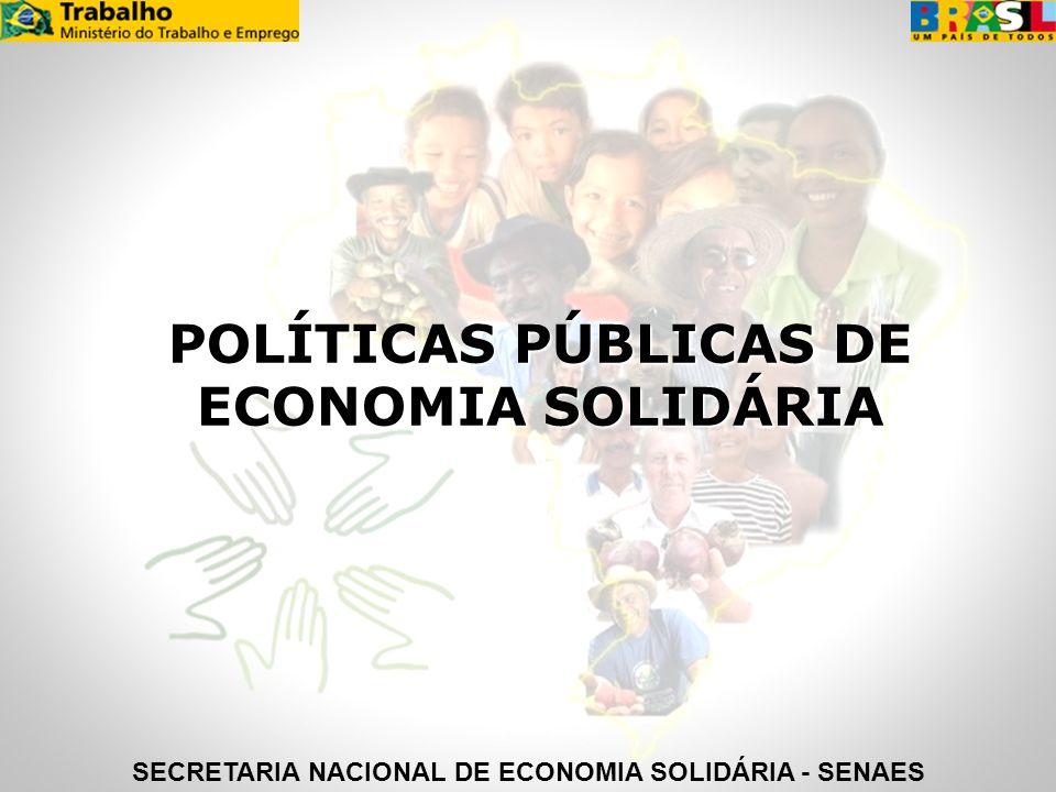 POLÍTICAS PÚBLICAS DE ECONOMIA SOLIDÁRIA SECRETARIA NACIONAL DE ECONOMIA SOLIDÁRIA - SENAES