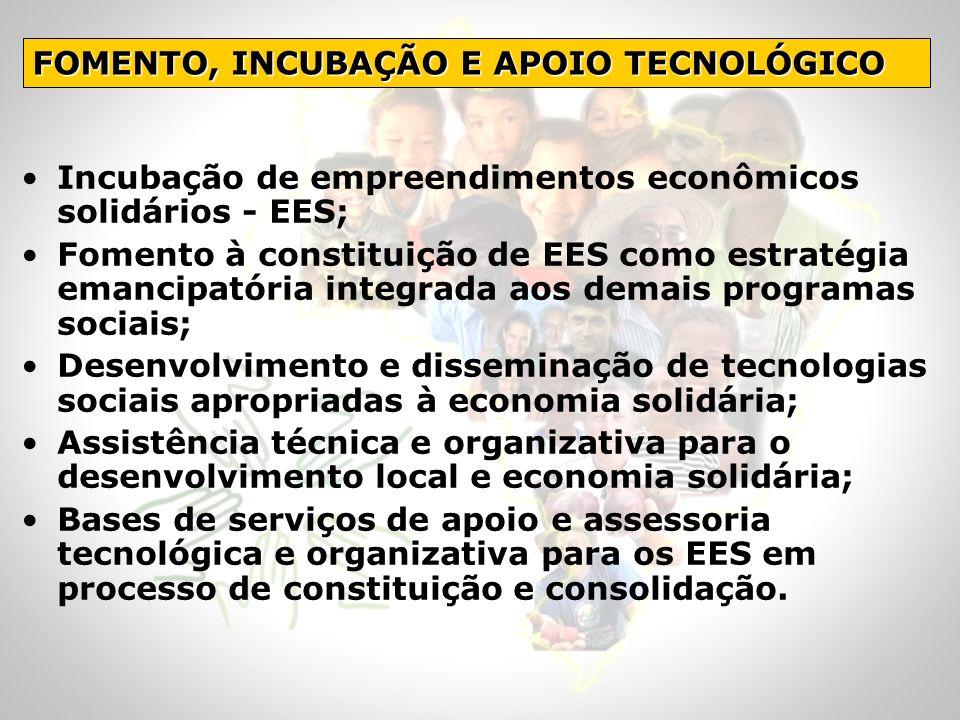 Incubação de empreendimentos econômicos solidários - EES; Fomento à constituição de EES como estratégia emancipatória integrada aos demais programas s