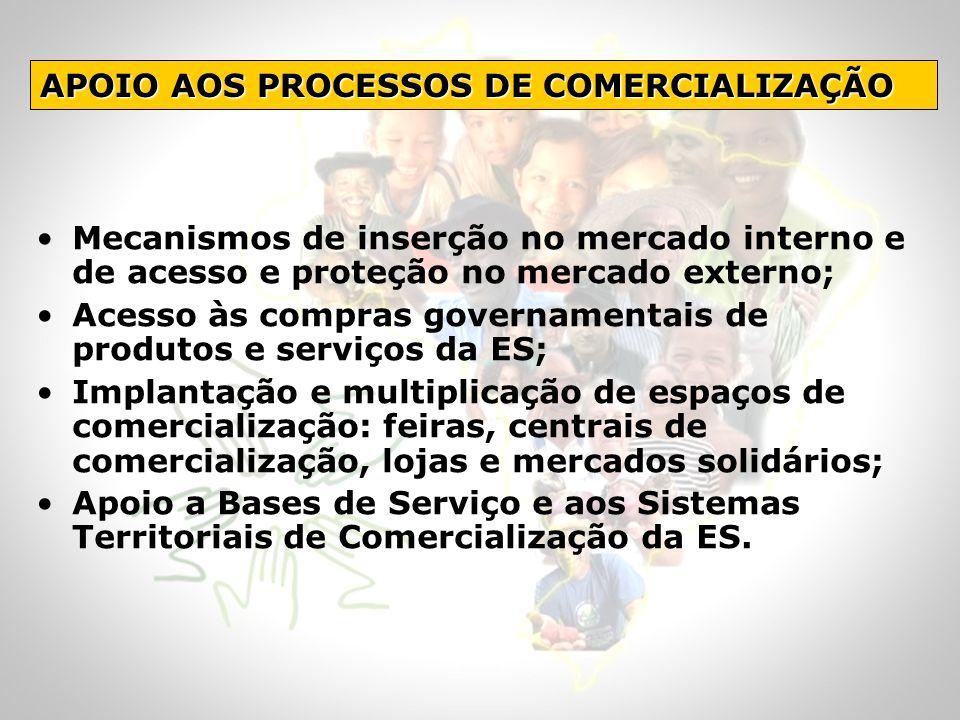 Mecanismos de inserção no mercado interno e de acesso e proteção no mercado externo; Acesso às compras governamentais de produtos e serviços da ES; Im