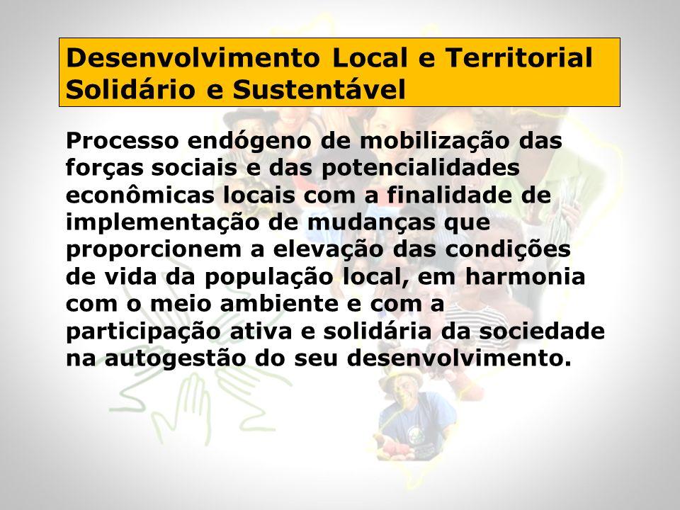 Desenvolvimento Local e Territorial Solidário e Sustentável Processo endógeno de mobilização das forças sociais e das potencialidades econômicas locai
