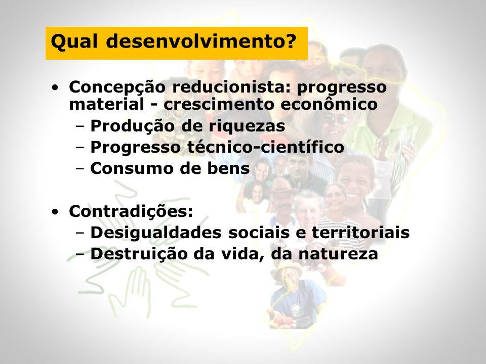 Qual desenvolvimento? Concepção reducionista: progresso material - crescimento econômico –Produção de riquezas –Progresso técnico-científico –Consumo