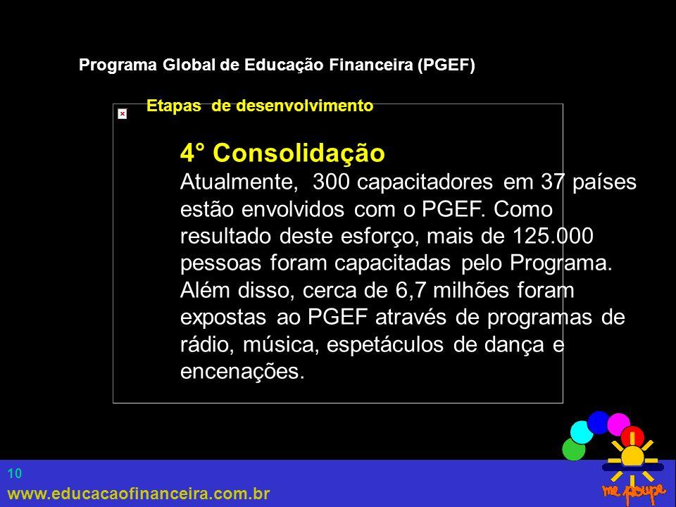 www.educacaofinanceira.com.br 10 Programa Global de Educação Financeira (PGEF) Etapas de desenvolvimento 4° Consolidação Atualmente, 300 capacitadores