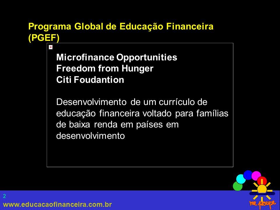 www.educacaofinanceira.com.br 3 Programa Global de Educação Financeira (PGEF) Organizações Parceiras Pro Mujer (Bolívia) Teba Bank (África do Sul) Al Amana (Marrocos) Equity Building Society (Quênia) SEWA Bank (India) CARD Bankl (Filipinas) Microfinance Centre (Polônia)