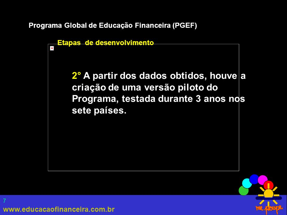 7 Programa Global de Educação Financeira (PGEF) Etapas de desenvolvimento 2° A partir dos dados obtidos, houve a criação de uma versão piloto do Progr