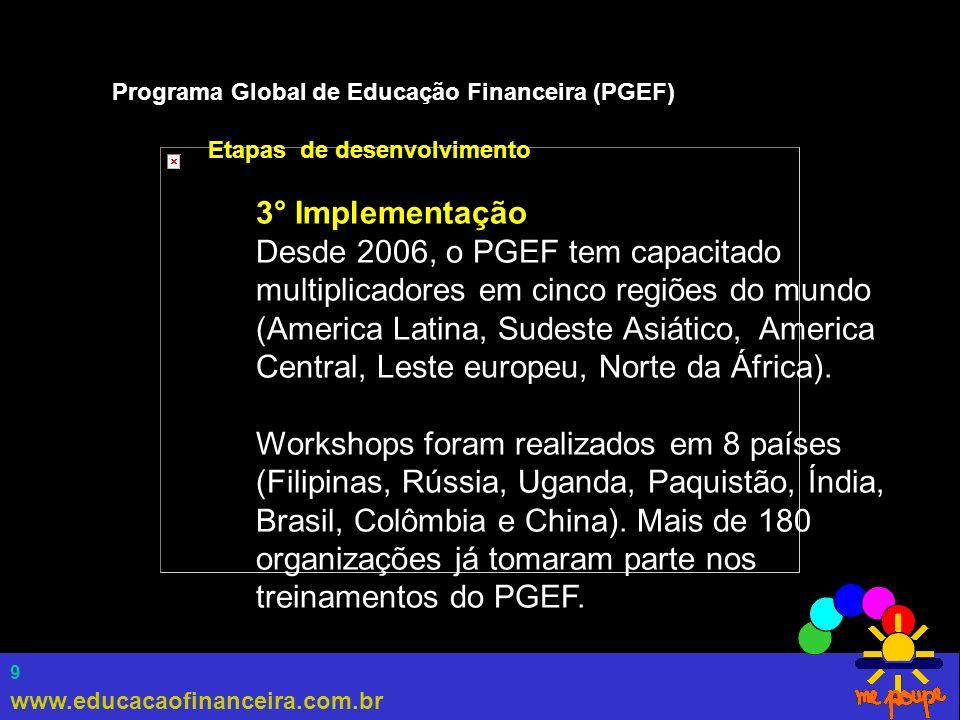 www.educacaofinanceira.com.br 10 Programa Global de Educação Financeira (PGEF) Etapas de desenvolvimento 4° Consolidação Atualmente, 300 capacitadores em 37 países estão envolvidos com o PGEF.