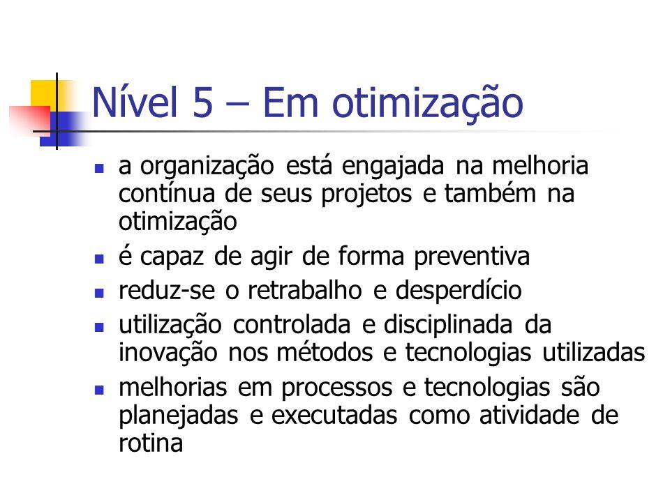 Nível 5 – Em otimização a organização está engajada na melhoria contínua de seus projetos e também na otimização é capaz de agir de forma preventiva r