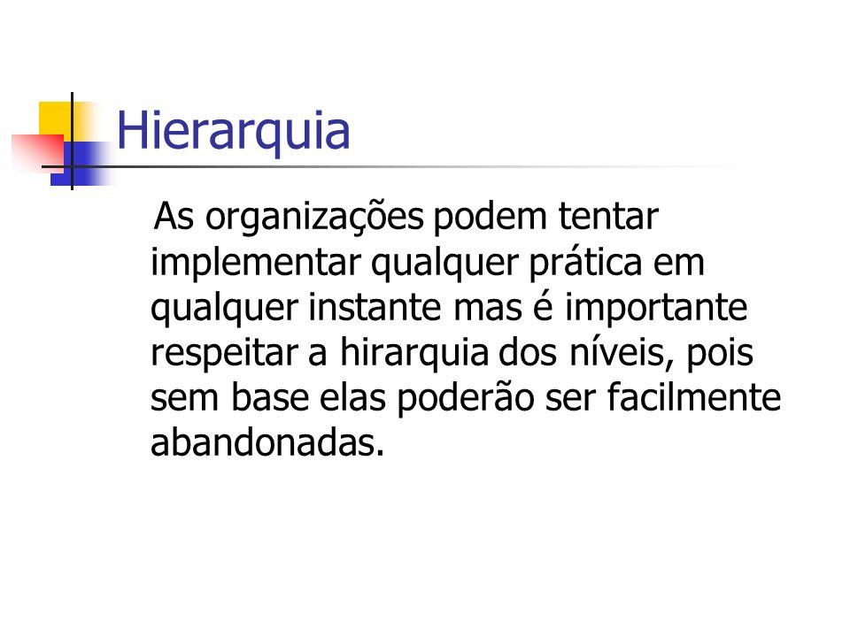 Hierarquia As organizações podem tentar implementar qualquer prática em qualquer instante mas é importante respeitar a hirarquia dos níveis, pois sem