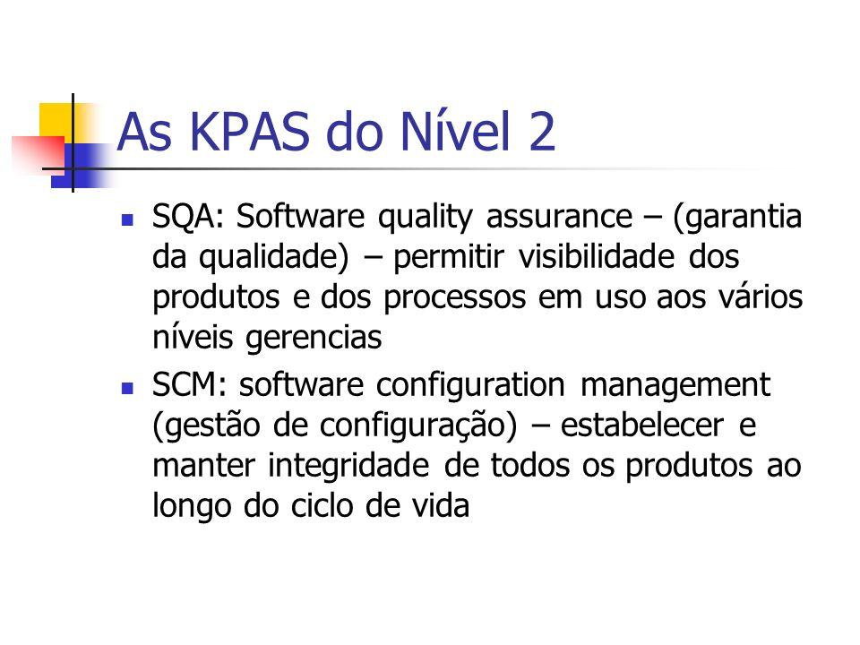 As KPAS do Nível 2 SQA: Software quality assurance – (garantia da qualidade) – permitir visibilidade dos produtos e dos processos em uso aos vários ní