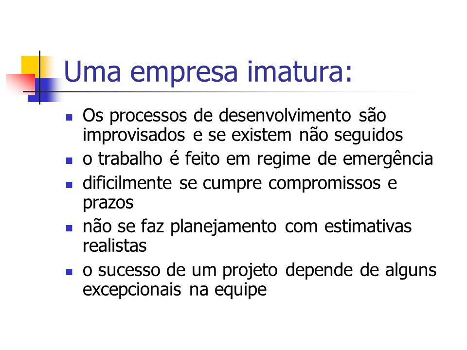 Uma empresa imatura: Os processos de desenvolvimento são improvisados e se existem não seguidos o trabalho é feito em regime de emergência dificilment