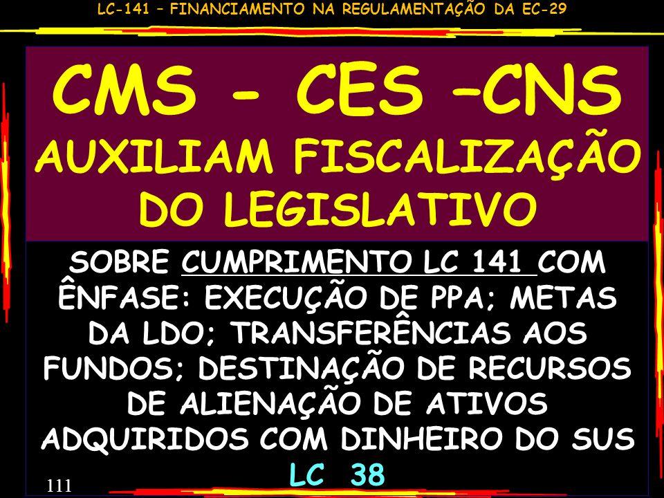 LC-141 – FINANCIAMENTO NA REGULAMENTAÇÃO DA EC-29 110 REFLEXÕES E PROVIDÊNCIAS COMO SERÁ ESTE PARECER CONCLUSIVO? BASTA APROVAR OU REPROVAR? TEM QUE S