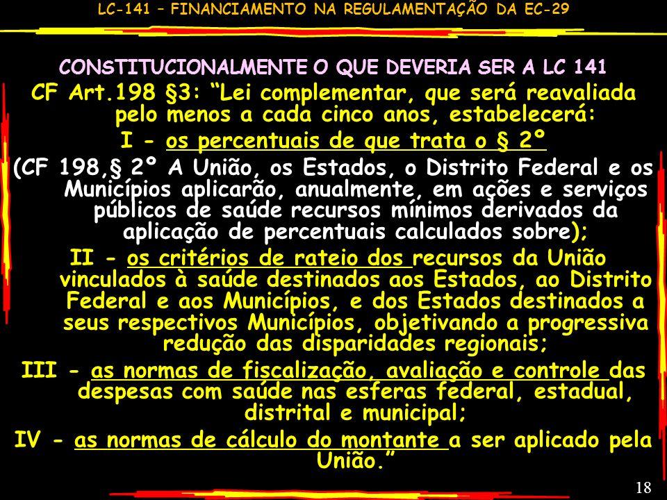 LC-141 – FINANCIAMENTO NA REGULAMENTAÇÃO DA EC-29 17 COMENTÁRIOS GERAIS GC ALGUMAS CONQUISTAS (DEMONSTRADAS A FRENTE) FRACASSO REDONDO: % REPROVADO CO