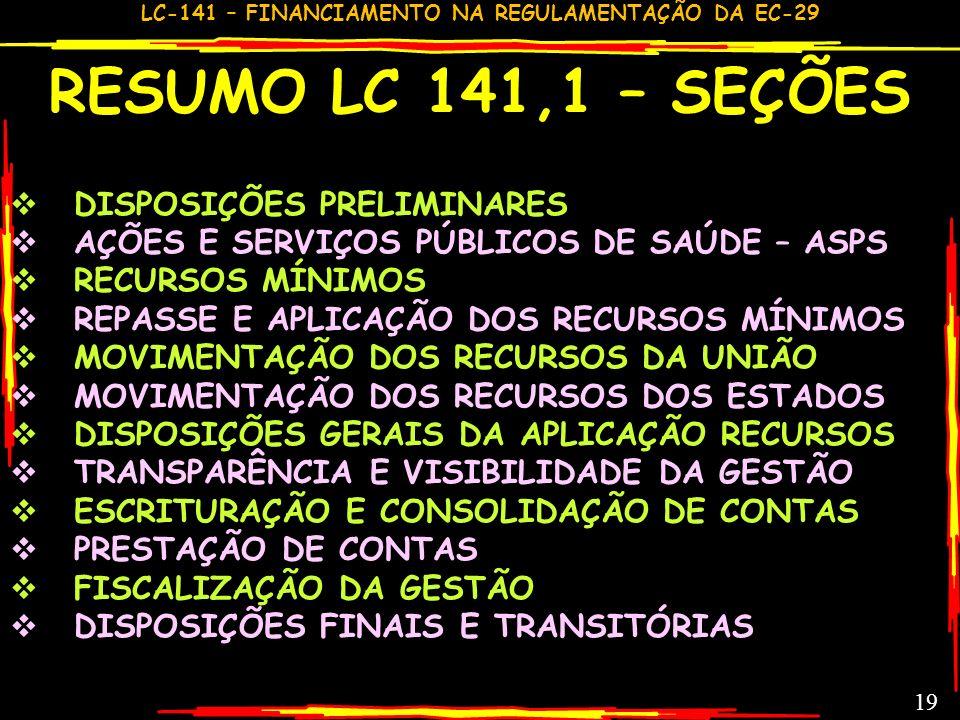 LC-141 – FINANCIAMENTO NA REGULAMENTAÇÃO DA EC-29 18 CONSTITUCIONALMENTE O QUE DEVERIA SER A LC 141 CF Art.198 §3: Lei complementar, que será reavalia