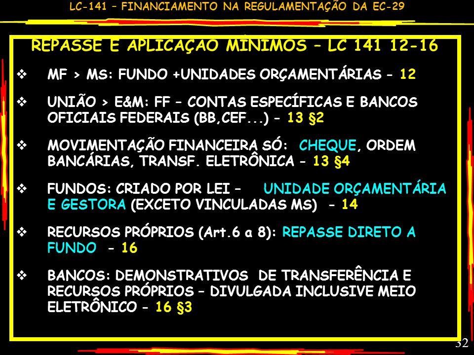 LC-141 – FINANCIAMENTO NA REGULAMENTAÇÃO DA EC-29 31 RESUMO REPASSE E APLICAÇÃO LC 141-12-16 RECURSOS FEDERAIS/ ESTADUAIS TRANSFERÊNCIA A ESTADOS E MU