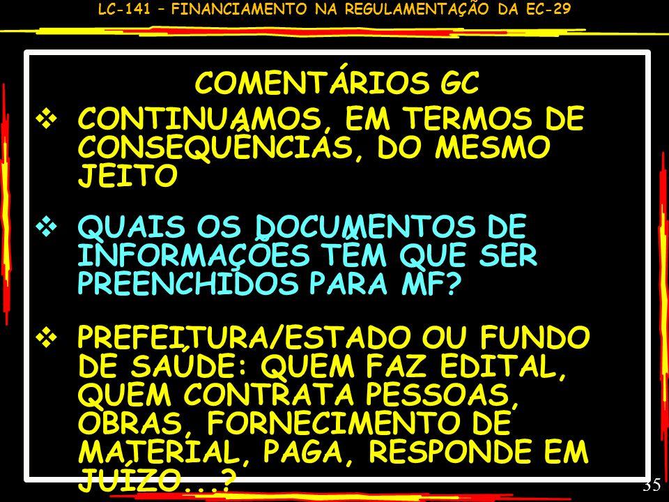LC-141 – FINANCIAMENTO NA REGULAMENTAÇÃO DA EC-29 34 COMENTÁRIO GC – LC 141,12-16 UNIDADE ORÇAMENTÁRIA: DOTAÇÕES ORÇAMENTÁRIAS (PRÓPRIA)– PODER DE DIS