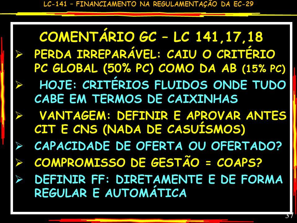 LC-141 – FINANCIAMENTO NA REGULAMENTAÇÃO DA EC-29 36 RATEIO DA UNIÃO –LC 17-18 MONTANTE MS>E&M: QUANTO PARA CADA ENTE? CRITÉRIOS DEFINIDOS NA CIT SOB