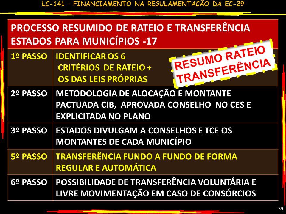 LC-141 – FINANCIAMENTO NA REGULAMENTAÇÃO DA EC-29 38 CRITÉRIOS DE RATEIO DE RECURSOS DA SAÚDEDE ESTADOS PARA MUNICÍPIOS LEI COMP. 141-17 NECESSIDADES