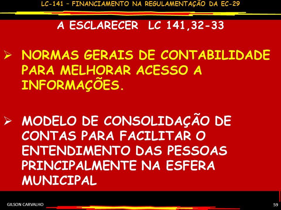 LC-141 – FINANCIAMENTO NA REGULAMENTAÇÃO DA EC-29 58 ESCRITURAÇÃO E CONSOLIDAÇÃO CONTAS –LC 141,32-33 REGISTRO CONTÁBIL RELATIVO A ASPS 32 CONTABILIDA