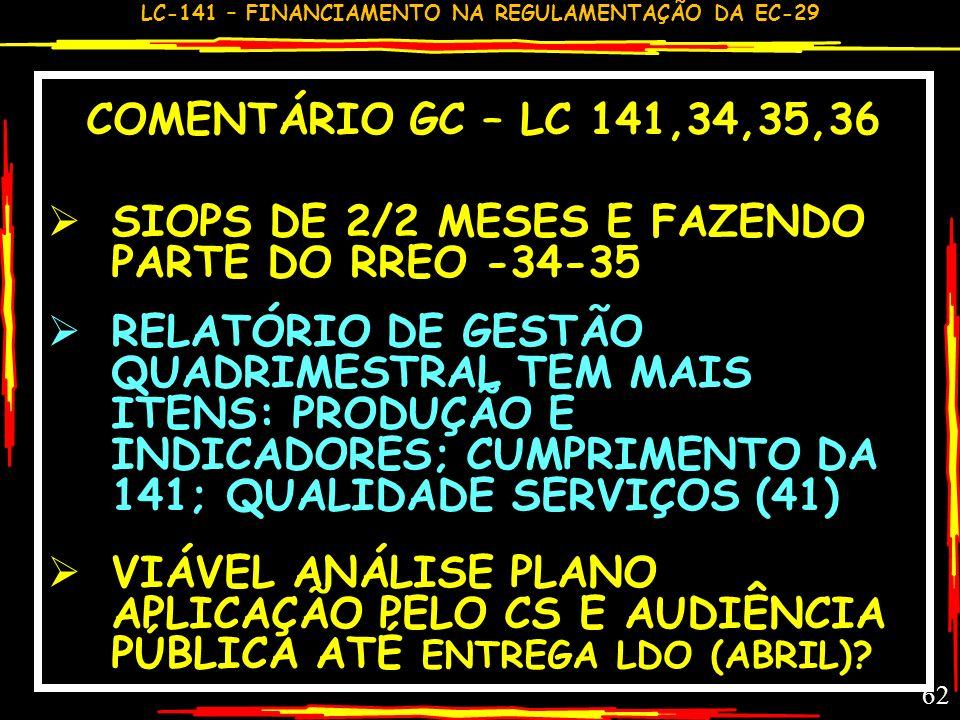 LC-141 – FINANCIAMENTO NA REGULAMENTAÇÃO DA EC-29 61 PRESTAÇÃO CONTAS –LC 141-36 UEM ENVIAR RELATÓRIO AO CS até 30/3; CS EMITE PARECER CONCLUSIVO ; DI
