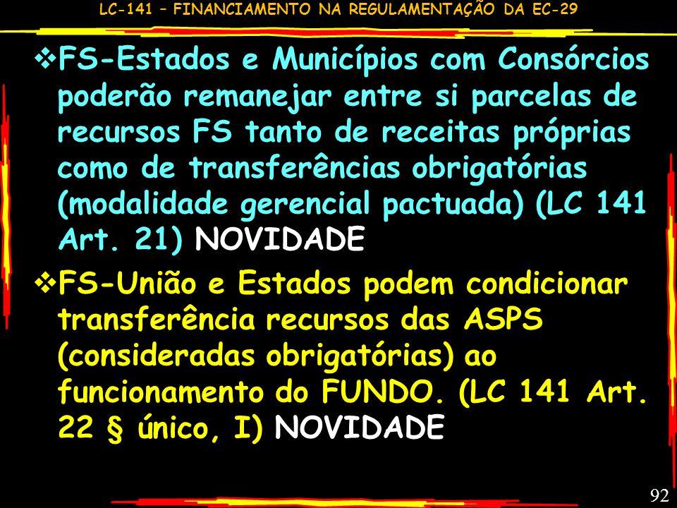 LC-141 – FINANCIAMENTO NA REGULAMENTAÇÃO DA EC-29 91 FS- Em situações específicas poderá haver transferência voluntária. (LC 141 Art. 18 § único)NOVID