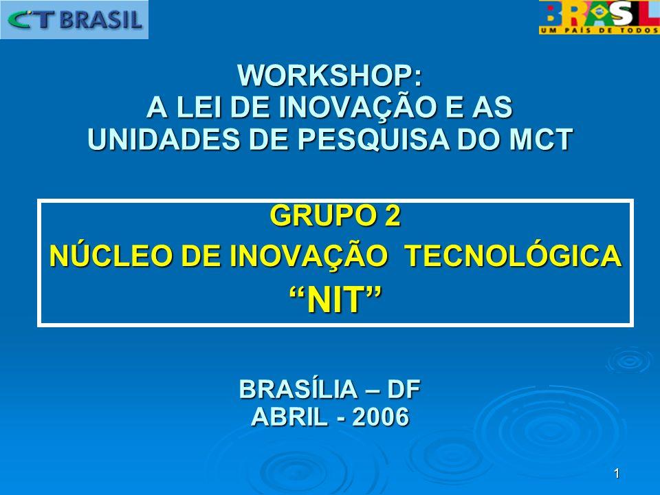 1 GRUPO 2 NÚCLEO DE INOVAÇÃO TECNOLÓGICA NIT WORKSHOP: A LEI DE INOVAÇÃO E AS UNIDADES DE PESQUISA DO MCT BRASÍLIA – DF ABRIL - 2006
