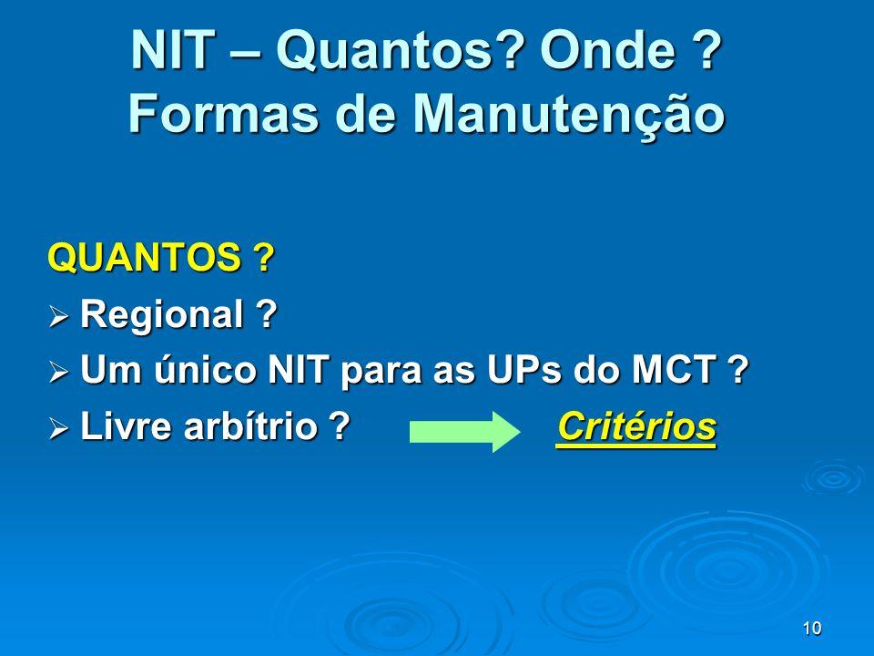 10 NIT – Quantos? Onde ? Formas de Manutenção QUANTOS ? Regional ? Regional ? Um único NIT para as UPs do MCT ? Um único NIT para as UPs do MCT ? Livr