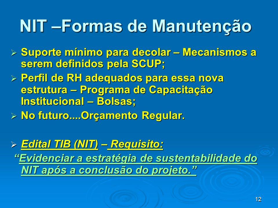 12 NIT –Formas de Manutenção Suporte mínimo para decolar – Mecanismos a serem definidos pela SCUP; Suporte mínimo para decolar – Mecanismos a serem de
