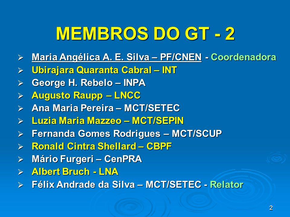2 MEMBROS DO GT - 2 Maria Angélica A. E. Silva – PF/CNEN - Coordenadora Maria Angélica A. E. Silva – PF/CNEN - Coordenadora Ubirajara Quaranta Cabral