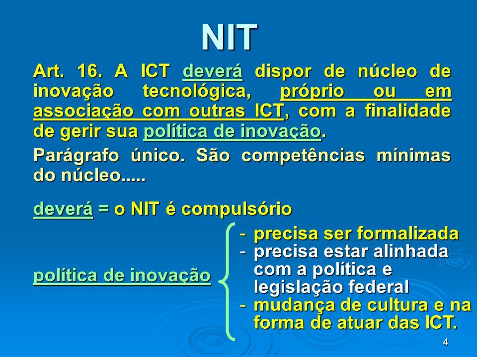 4 NIT Art. 16. A ICT deverá dispor de núcleo de inovação tecnológica, próprio ou em associação com outras ICT, com a finalidade de gerir sua política
