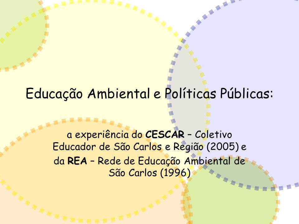 Educação Ambiental e Políticas Públicas: a experiência do CESCAR – Coletivo Educador de São Carlos e Região (2005) e da REA – Rede de Educação Ambient
