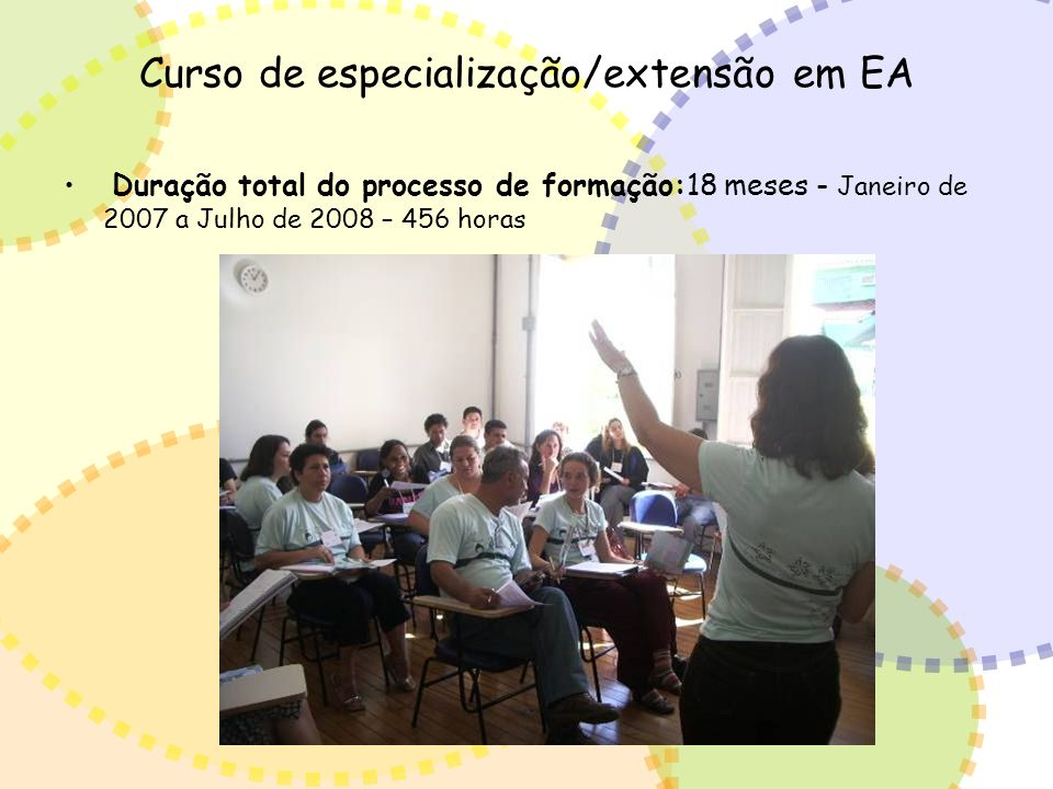 Curso de especialização/extensão em EA Duração total do processo de formação:18 meses - Janeiro de 2007 a Julho de 2008 – 456 horas