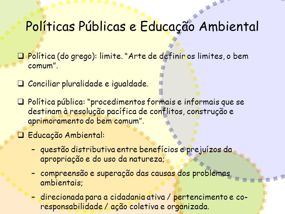 Políticas Públicas e Educação Ambiental Política (do grego): limite. Arte de definir os limites, o bem comum. Conciliar pluralidade e igualdade. Polít