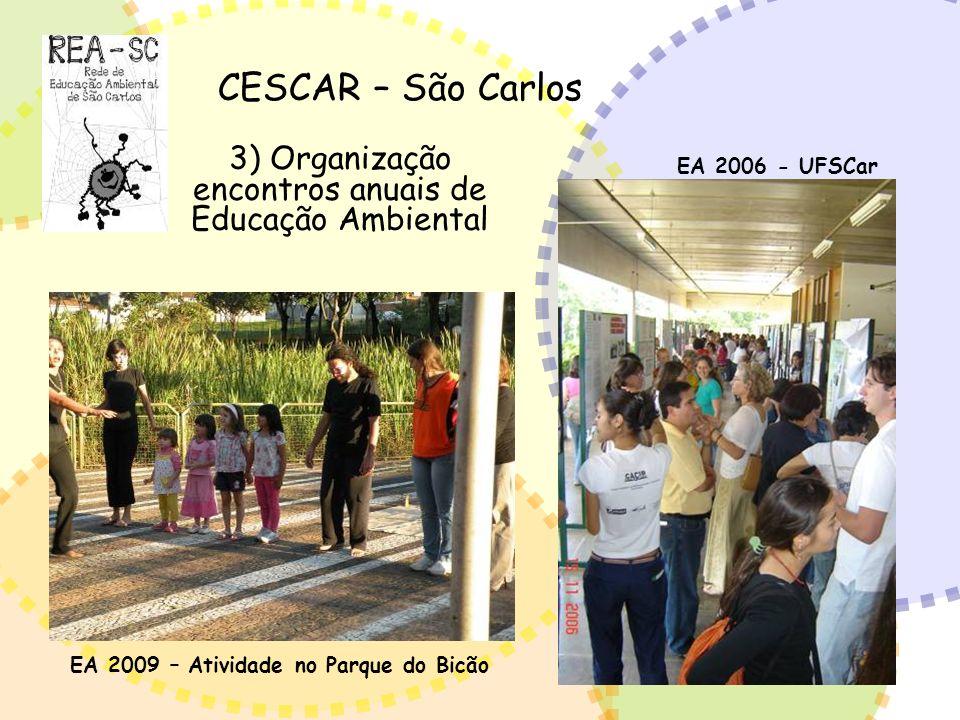 CESCAR – São Carlos 3) Organização encontros anuais de Educação Ambiental EA 2006 - UFSCar EA 2009 – Atividade no Parque do Bicão