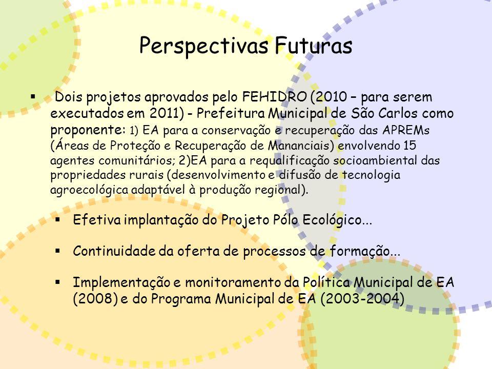Perspectivas Futuras Dois projetos aprovados pelo FEHIDRO (2010 – para serem executados em 2011) - Prefeitura Municipal de São Carlos como proponente: