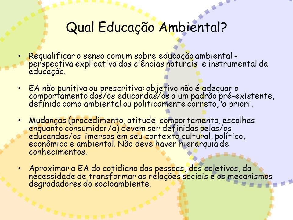Qual Educação Ambiental? Requalificar o senso comum sobre educação ambiental - perspectiva explicativa das ciências naturais e instrumental da educaçã
