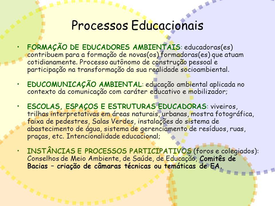 Processos Educacionais FORMAÇÃO DE EDUCADORES AMBIENTAIS: educadoras(es) contribuem para a formação de novas(os) formadoras(es) que atuam cotidianamen