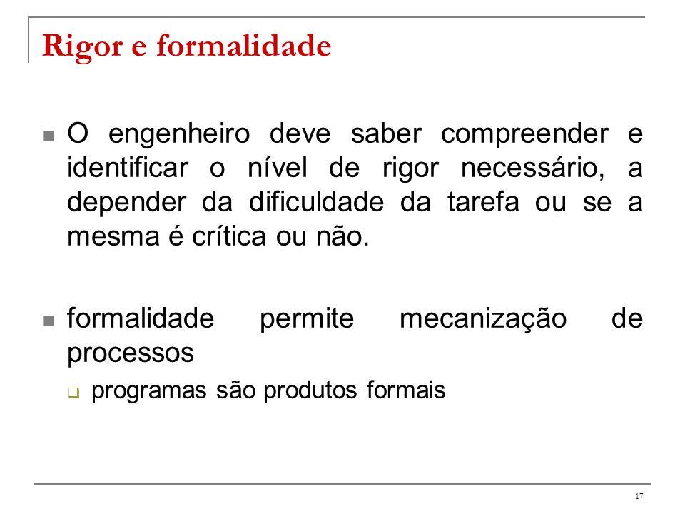 18 Exemplos: produto Análise matemática (formal) da correção de programas Derivação sistemática (rigorosa) de dados de teste