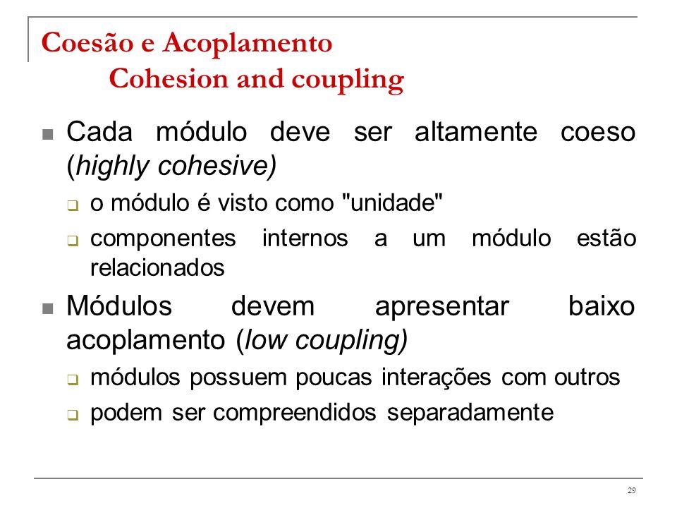 30 acoplamento e coesão acoplamento altocoesão alta, acoplamento baixo