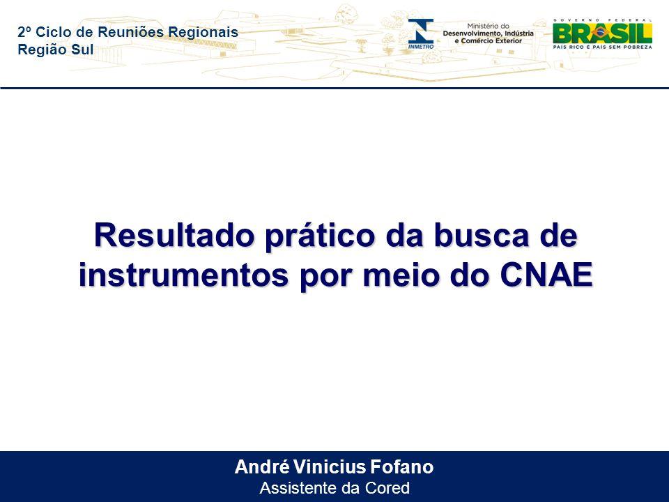 2º Ciclo de Reuniões Regionais Região Sul André Vinicius Fofano Assistente da Cored Resultado prático da busca de instrumentos por meio do CNAE