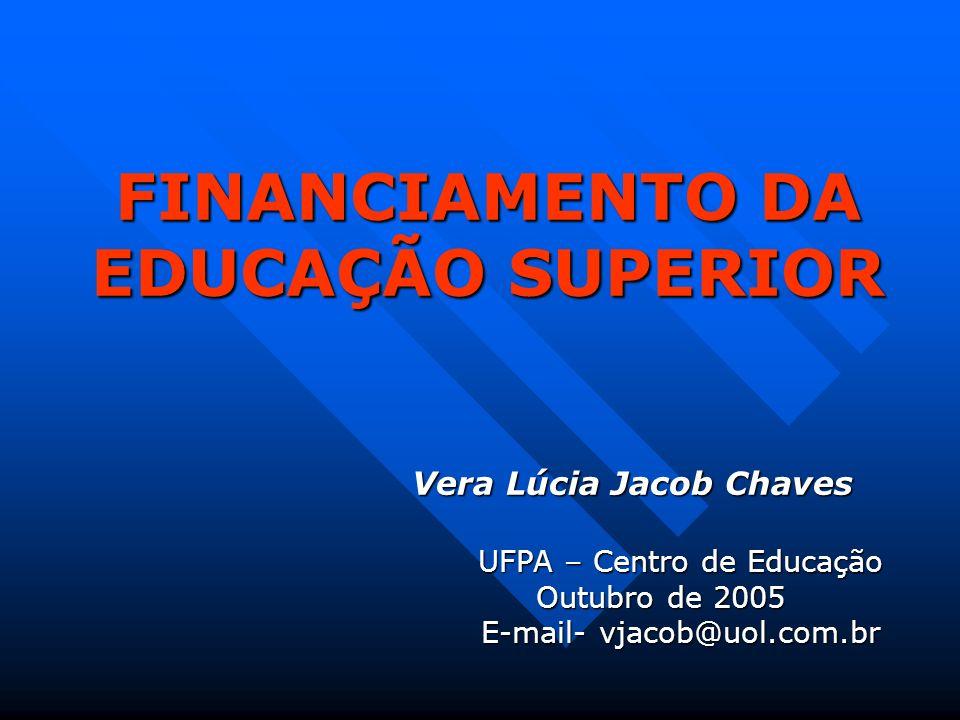 FINANCIAMENTO DA EDUCAÇÃO SUPERIOR Vera Lúcia Jacob Chaves UFPA – Centro de Educação Outubro de 2005 E-mail- vjacob@uol.com.br
