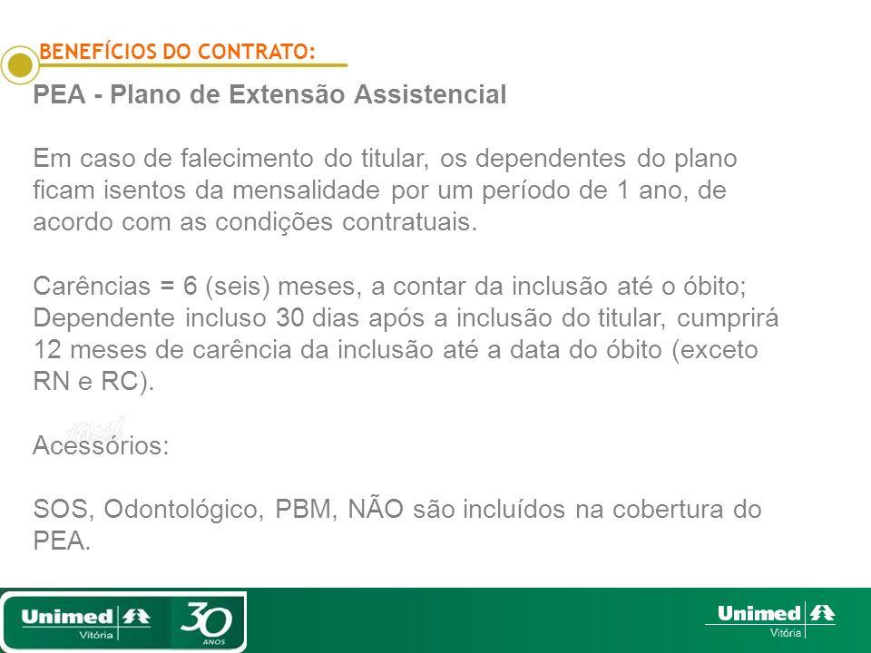 BENEFÍCIOS DO CONTRATO: PEA - Plano de Extensão Assistencial Em caso de falecimento do titular, os dependentes do plano ficam isentos da mensalidade p