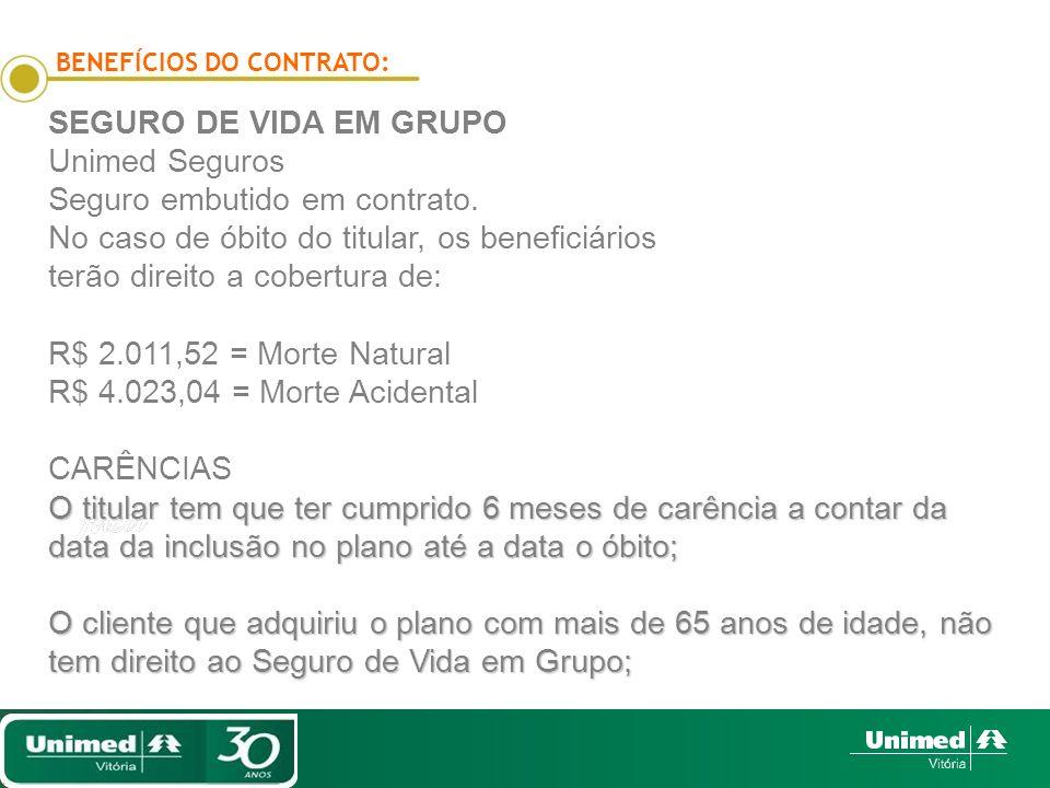 BENEFÍCIOS DO CONTRATO: SEGURO DE VIDA EM GRUPO Unimed Seguros Seguro embutido em contrato.