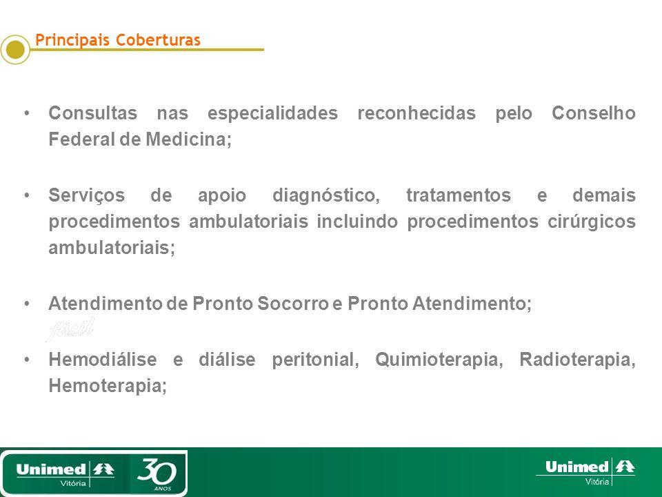 Consultas nas especialidades reconhecidas pelo Conselho Federal de Medicina; Serviços de apoio diagnóstico, tratamentos e demais procedimentos ambulat