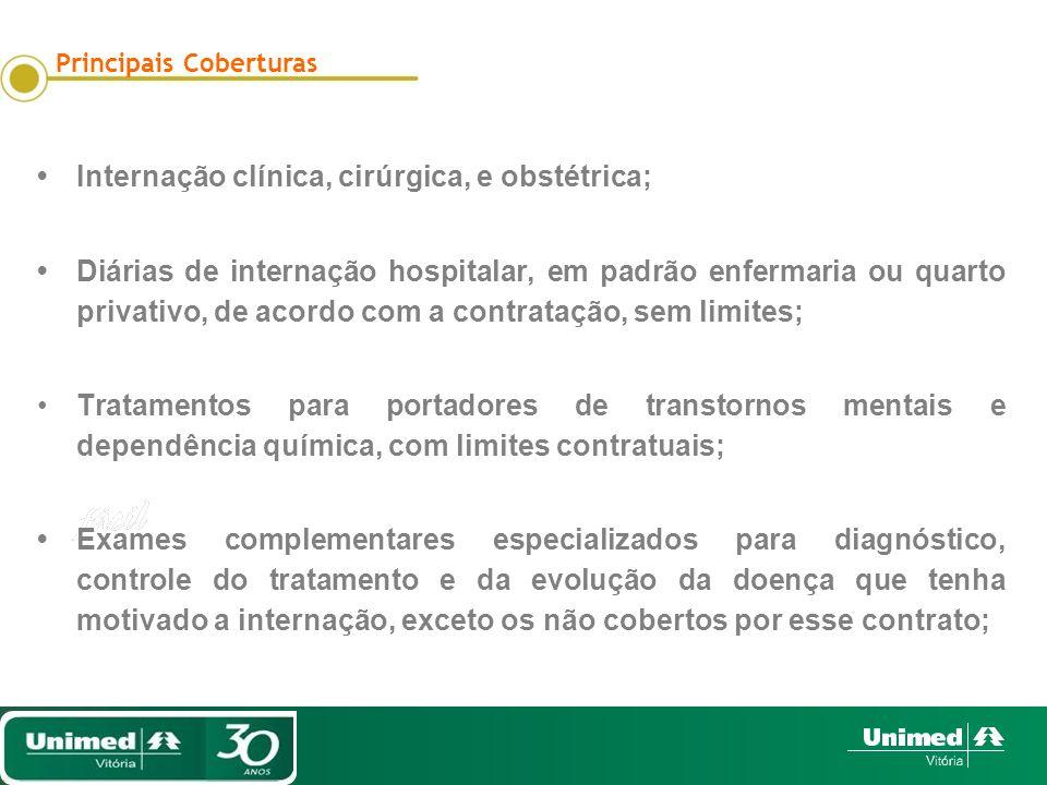 Internação clínica, cirúrgica, e obstétrica; Diárias de internação hospitalar, em padrão enfermaria ou quarto privativo, de acordo com a contratação,