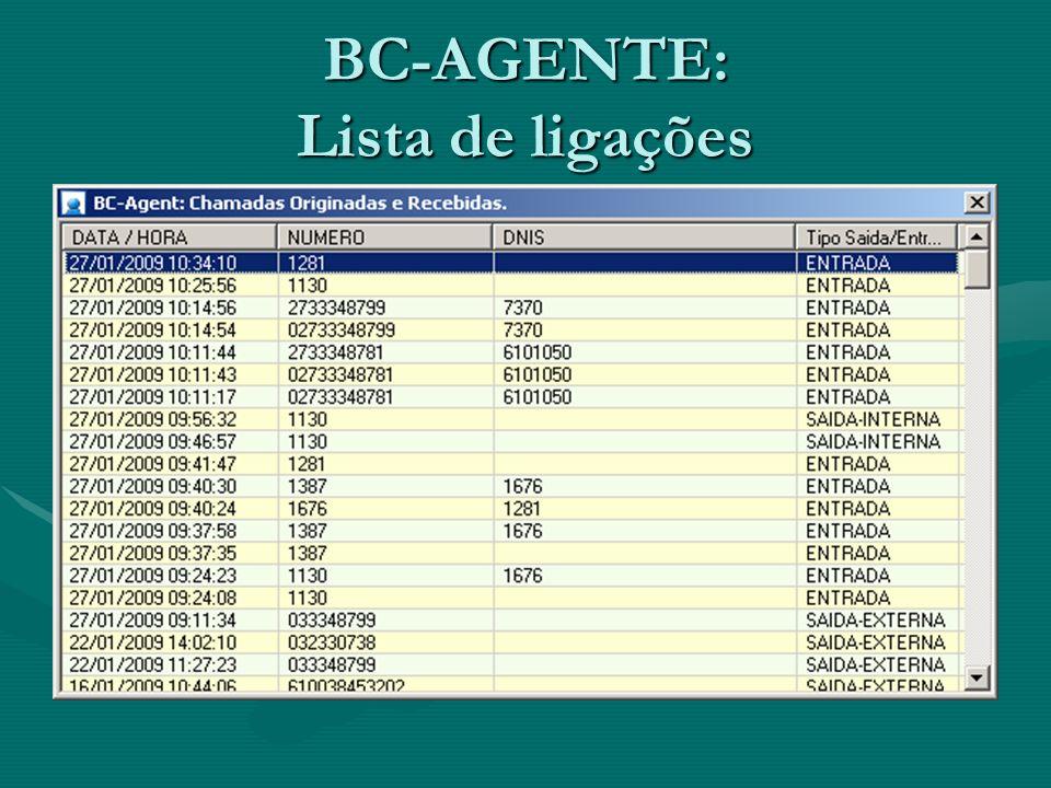 BC-AGENTE: Lista de ligações