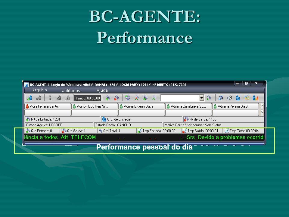 BC-AGENTE: Performance Performance pessoal do dia