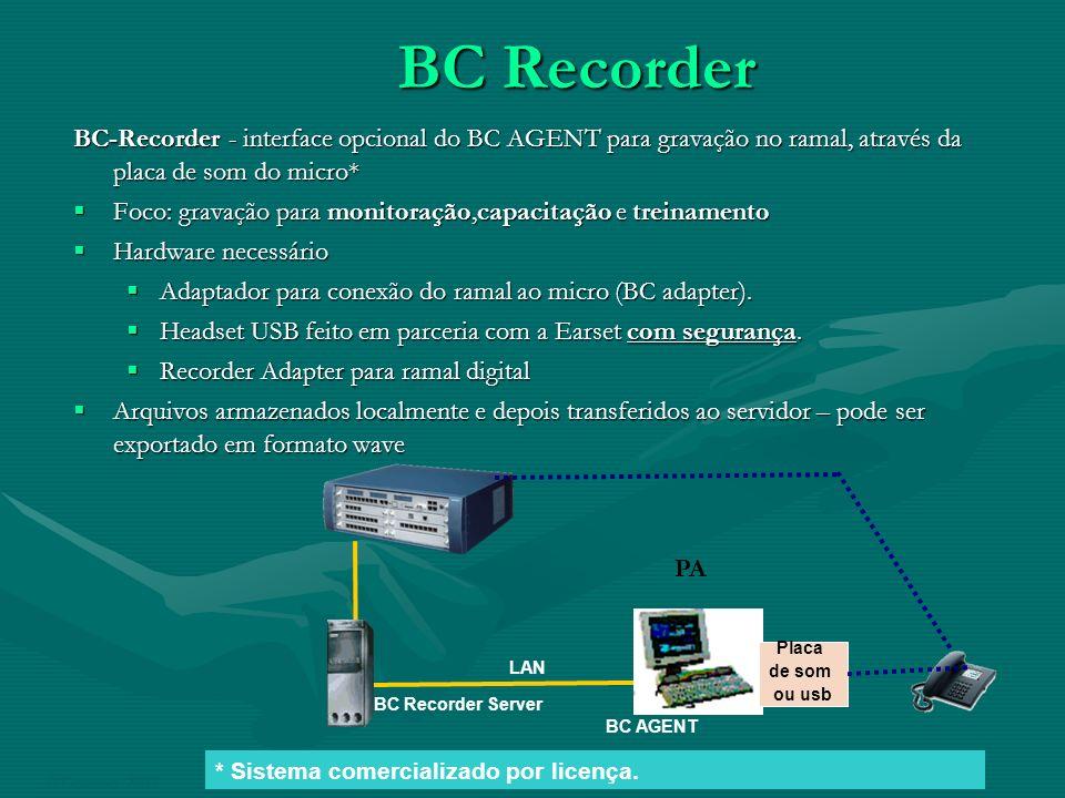 BC Recorder BC-Recorder - interface opcional do BC AGENT para gravação no ramal, através da placa de som do micro* Foco: gravação para monitoração,cap