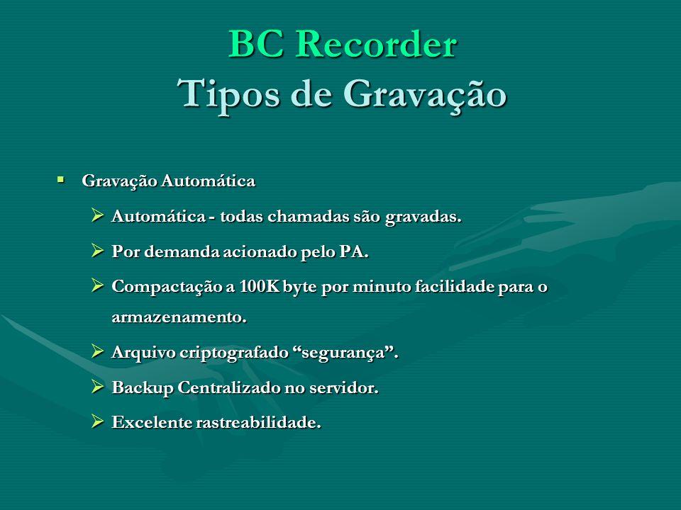 BC Recorder Tipos de Gravação Gravação Automática Gravação Automática Automática - todas chamadas são gravadas. Automática - todas chamadas são gravad
