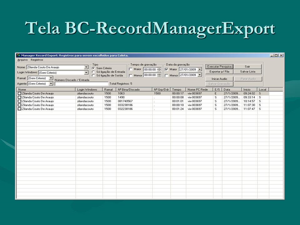 Tela BC-RecordManagerExport
