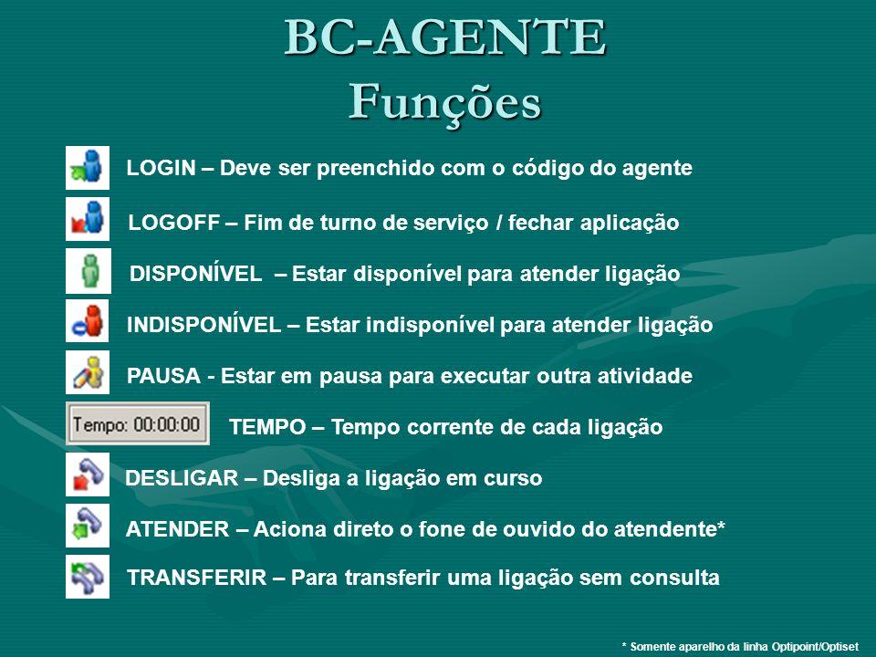 BC-AGENTE Funções LOGIN – Deve ser preenchido com o código do agente LOGOFF – Fim de turno de serviço / fechar aplicação DISPONÍVEL – Estar disponível