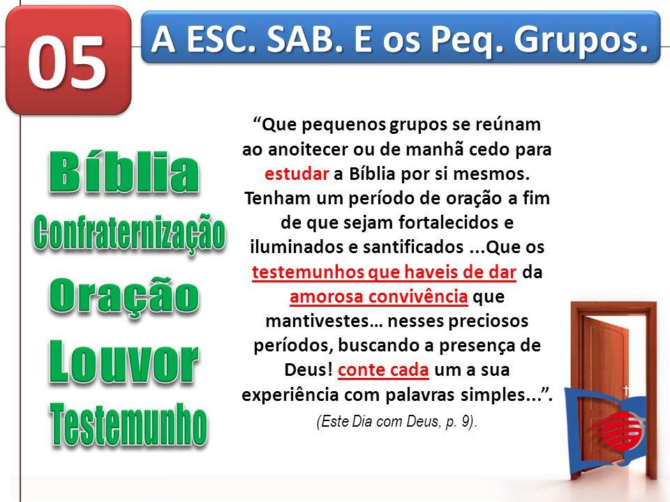 Que pequenos grupos se reúnam ao anoitecer ou de manhã cedo para estudar a Bíblia por si mesmos. Tenham um período de oração a fim de que sejam fortal